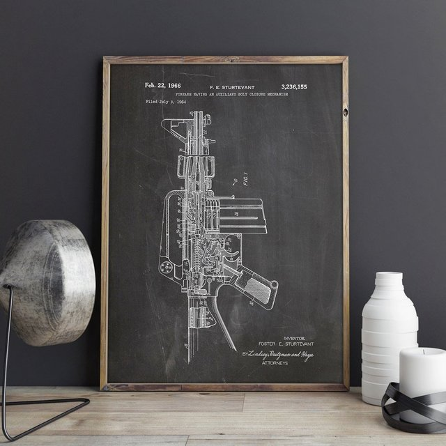 US $7 5 |M16 Gun patent,gun wall art,M16 Rifle posters, wall decor,vintage  print,blueprint, gift idea,Military Decorations-in Painting & Calligraphy