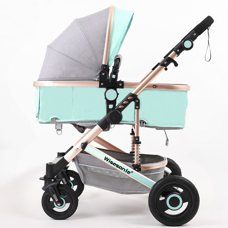 Luxury Baby Stroller 2 in 1 High-Landscape Pram Portable Folding baby Carriage Cheaper Baby Stroller Natural Rubber Four Wheel