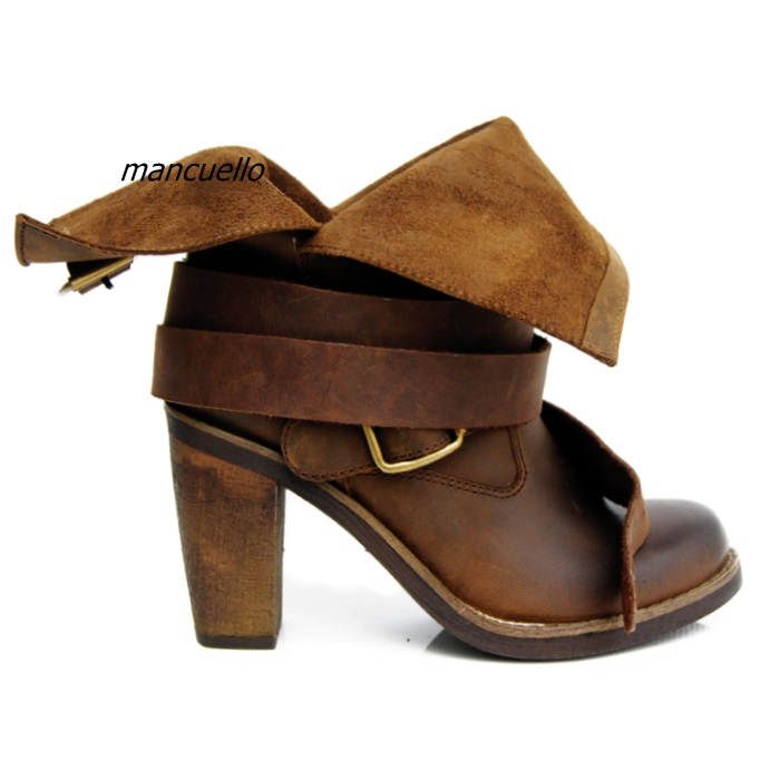 De Chunky Bloc Chaussures Pu Comfy Marron Style marron Simplement Bottes Boucle Bout Cuir Noir Talon Cheville Rond Chevalier Rétro Femmes N80PyOwvmn