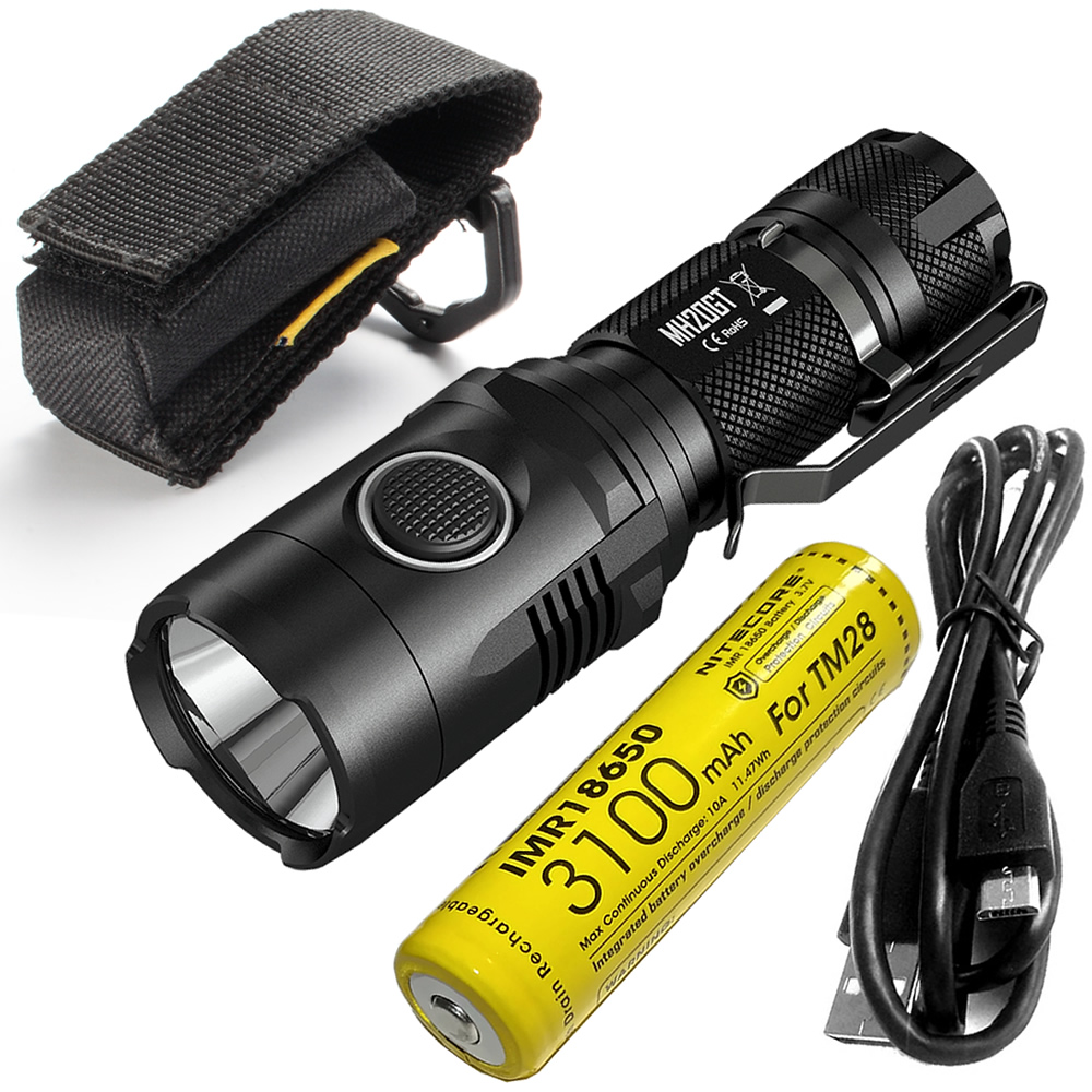 Discount NITECORE MH20GT 1000Lumen LED Lamp Rechargeableorch Waterproof Flashlight with IMR18650 Battery USB Cable Free Shipping nitecore imr18650 3100mah 35a 3 7v flat top rechargeable battery
