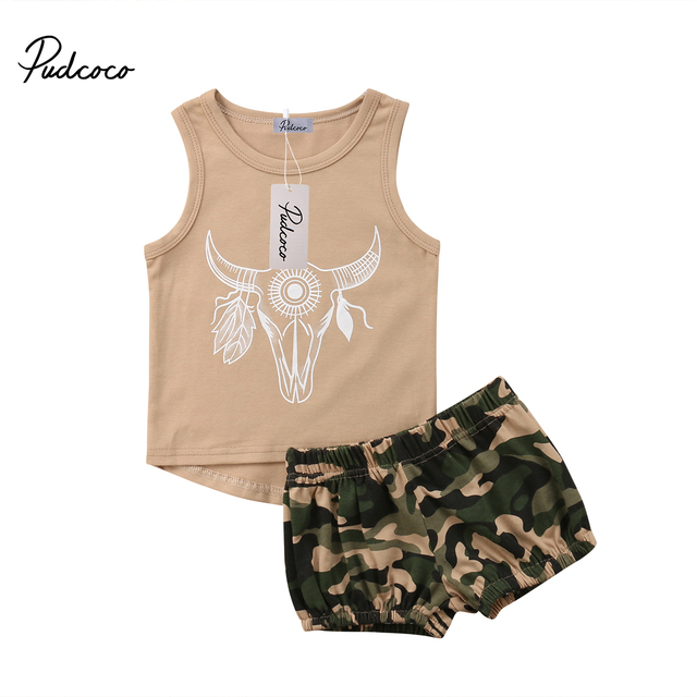 8252856e6 Baby Kids Boy Girl 2pcs Military Set Cattle Vest + Camouflage Shorts ...