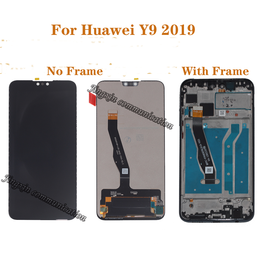 Original display with frame For Huawei Y9 2019 LCD touch screen digitizer assembly for Y9 2019 JKM LX1 LX2 LX3 lcd repair parts-in Mobile Phone LCD Screens from Cellphones & Telecommunications
