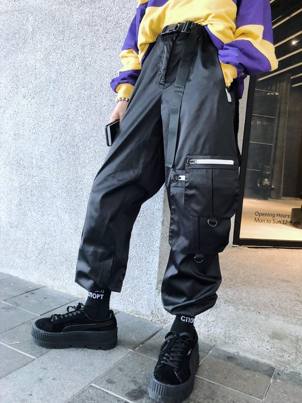 Bolsillos Guo Múltiples Apriete Negro Casuales De Pantalones Hip Empalme gris Hebilla Cintura Chao hop 8U8qzr