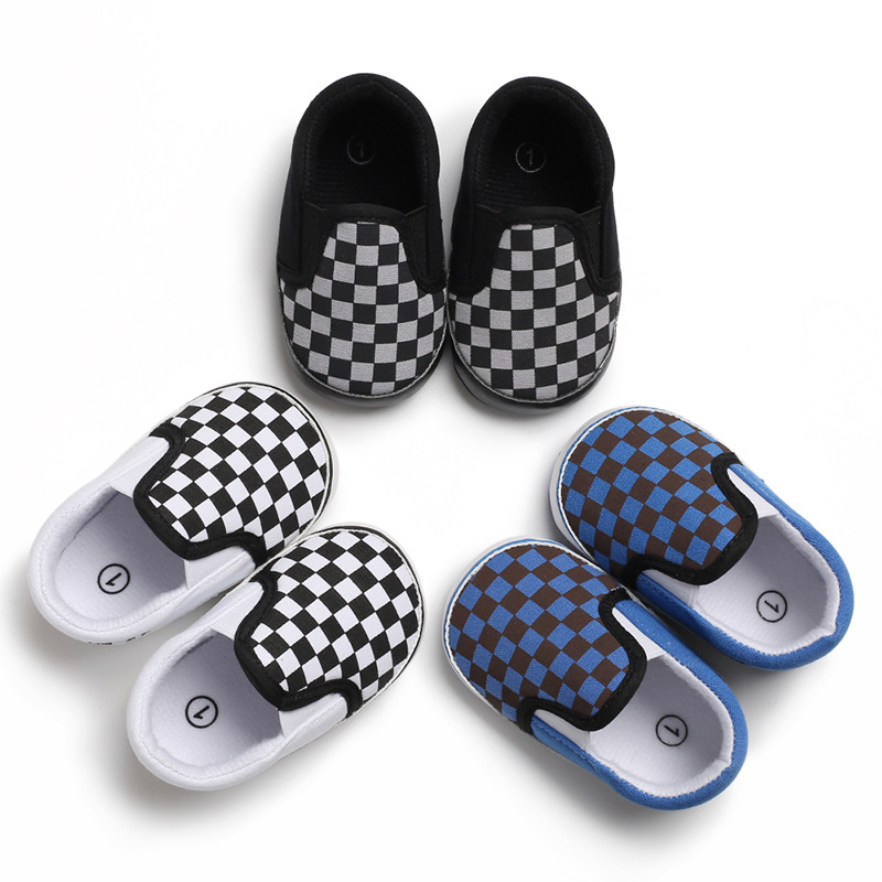 Male Baby Set Foot Striped Plaid Casual Toddler Shoes