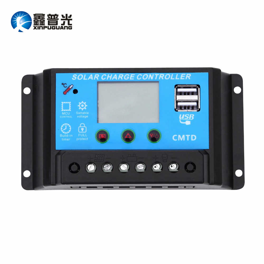 Xinpuguang 10A Solar Controller Blue Screen Display 12V 24V PMW+Dual USB Output DIY Solar Kits for Boat Yacht RV Motor Marine