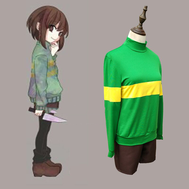 Undertale Cosplay Chara / Frisk Cosplay Costume Long Sleeve T-shirt Hoodies Coat Shorts Knife Shoes Game Cosplay Costumes