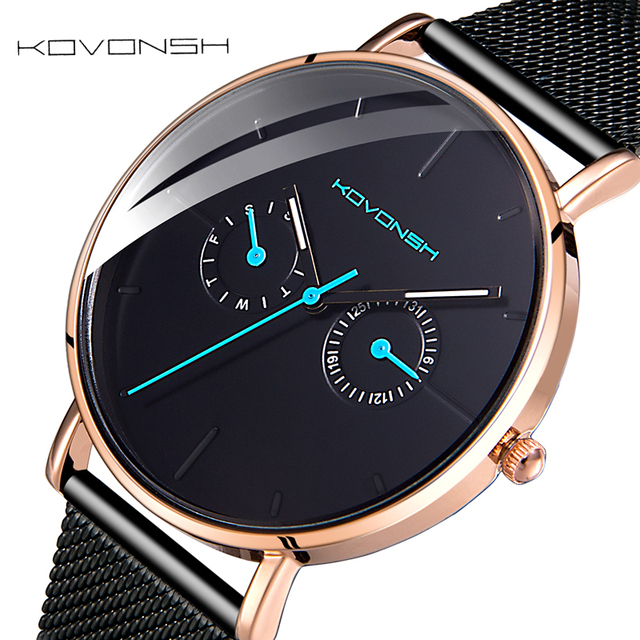 KOVONSH Men's Watch Fashion Mesh Band Belt Men Watches Stainless Steel Business