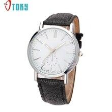 Otoky уникальный новинка 2017 года мужская и женская часы кожаный ремешок аналоговые кварцевые наручные часы Vogue Прямая поставка P40