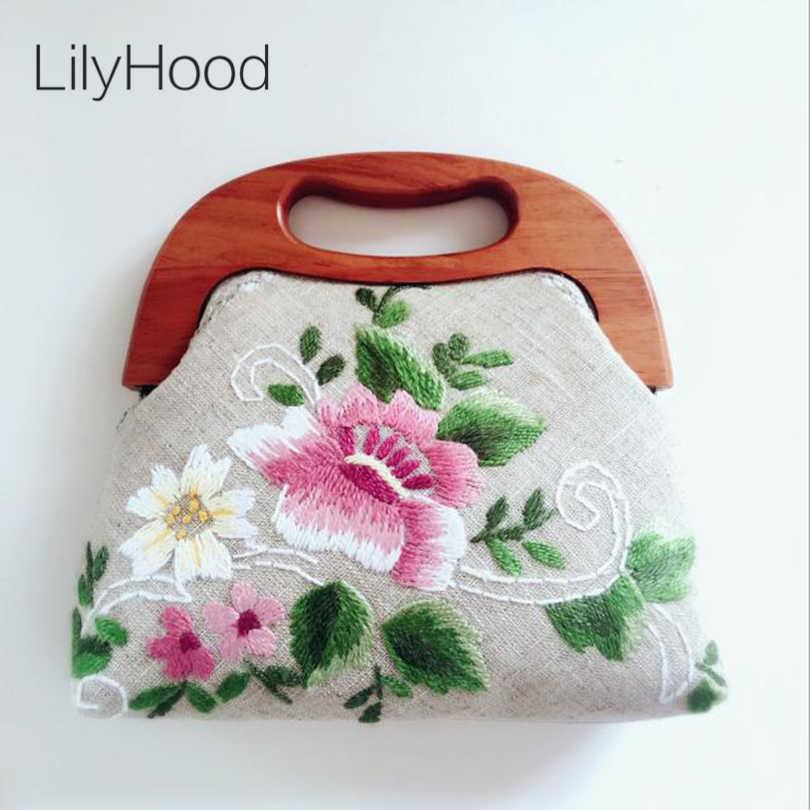 LilyHood 2018 Для женщин цветок вышитые большой ткань сумка ручной работы верхнюю ручку ретро шик старый народном этническом Китай стильный сумочка-портфель