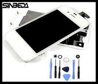 Sinbeda LCD & Montagem Do Painel de Toque Digitador Da Tela e Vidro Dianteiro & Kit Painel Traseiro Tampa Da caixa Da Porta da bateria para o iphone 4 4S