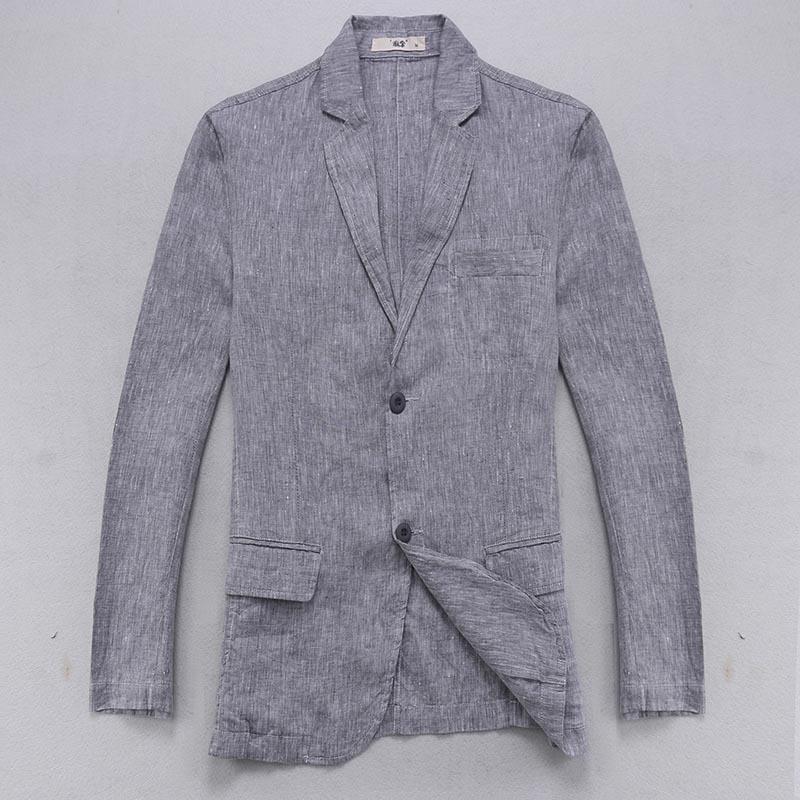 Italy Brand Blazer Men Linen Jacket Men Casual Solid