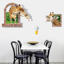 цены Creativity Giraffe drink juice Wall Sticker Vinyl Waterproof DIY Giraffe Wall Decals For Kids Room Kindergarten Art Decor Murals