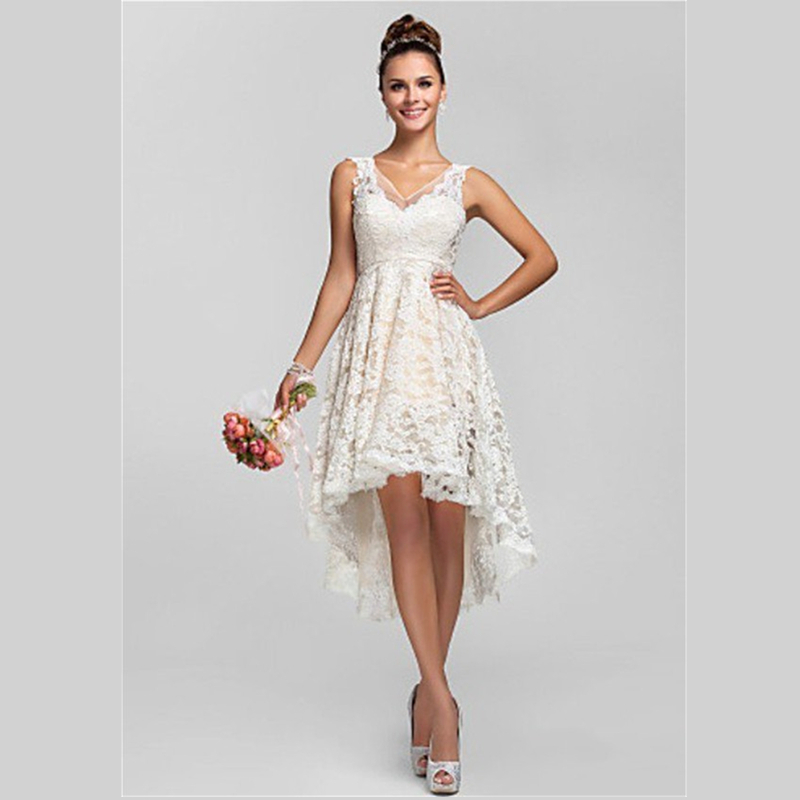 2015 dreamy white lace bridesmaid dress gown short front