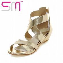 ขนาดบวก33-43นักรบรองเท้าแตะของผู้หญิงC Omfortต่ำรองเท้าเวดจ์ในช่วงฤดูร้อนผู้หญิงข้ามสายS Andalias de Mujer