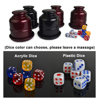 High Grade Plastic Colorful With Tray Bright Gambling Casino KTV Bar Plastic Dice Cup With 6pcs
