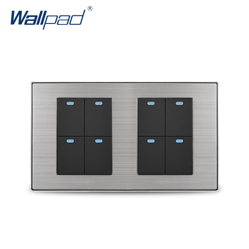 Wallpad 8 Gang 2 Way Wall Switch With LED Indicator Luxury Satin Metal Panel Wall Light Switch 10A AC110~250V 160*86mm free shipping wallpad luxury wall switch panel doorbell switch x6 series 10a 86 86mm 110 250v