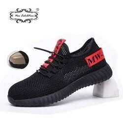 Nueva exposición zapatos de seguridad 2019 para hombre, antigolpes puntera de acero, zapatillas de trabajo de construcción, botas de seguridad transpirables al aire libre