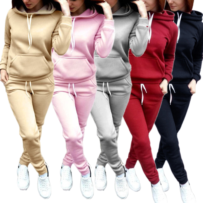 Autumn 2018 Casaul Loose Tracksuit Women 2 Piece Set Top And Pants Sweatshirt Sweat Suit Women's Set Hoodies Sweatshirt+Pants