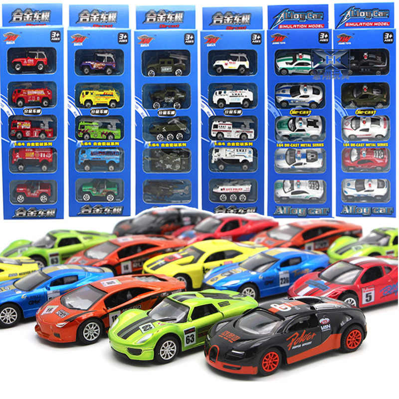 5 PCS 1:64 Children Toy Sports Car Models Mini Pocket Car Suit Auto Police Racing Car Metal Model Vehicle Kid Gifts For Children