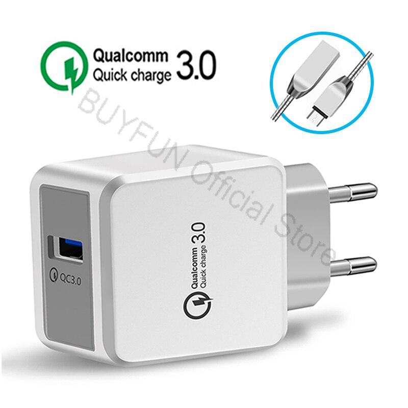 QC3.0 Quick Charge стены Зарядное устройство Android кабель телефон Зарядное устройство  ...