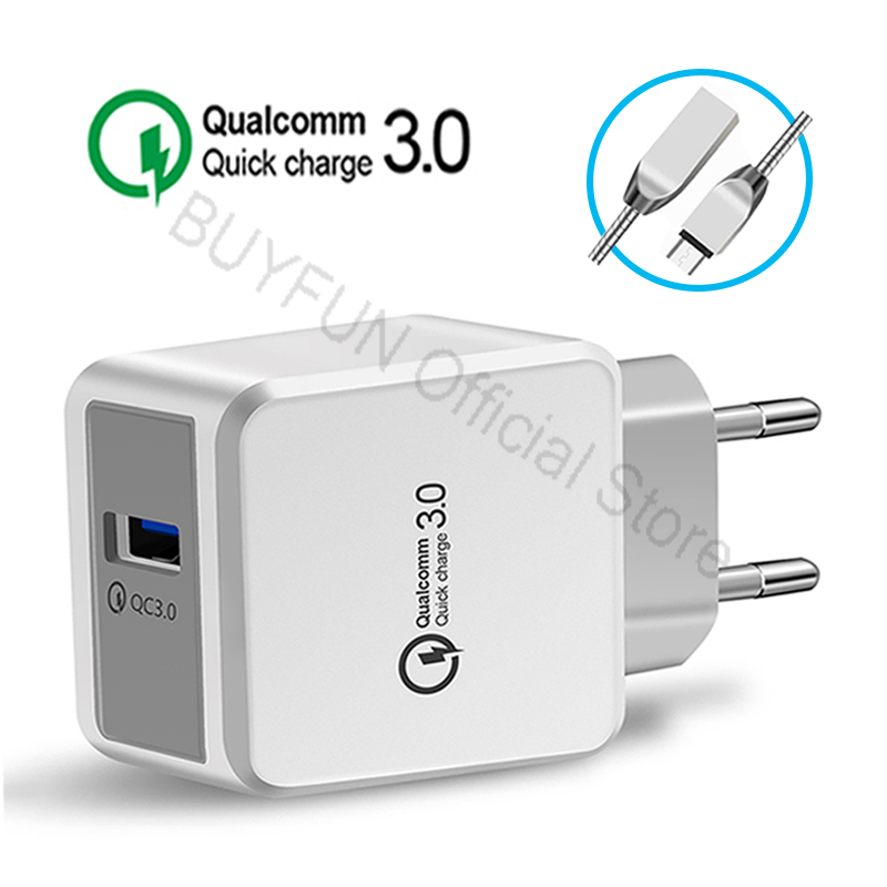 QC3.0 Quick Charge Wall Charger Android Cable Phone Charger Cable For Samsung Xiaomi Hua ...