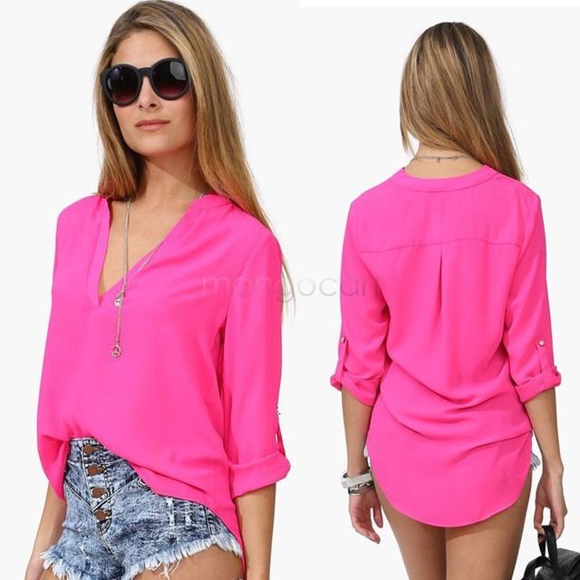 b6152a04c0158 Mujer blusas 2016 mujeres blusa moda femenina blusa de la gasa de manga  larga para mujer