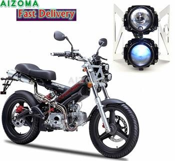 Dual Motorcycle Dirt Bike Headlight Twin Projector Headlamp w/ Bracket Universal For Kawasaki Honda Suzuki Yamaha Ducati