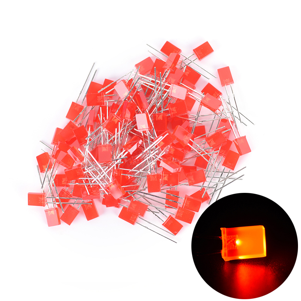 100pcs 2x5x7mm Yellow/Red/Blue/Green Rectangular Square LED Emitting Diodes Light LEDs Bulbs Hot Sale