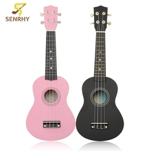 21 inch 12 Fret Black/Pink Acoustic Maple wood Ukulele Musical Instrument Ukulele Four-string Small Guitar 54x17x5.5cm