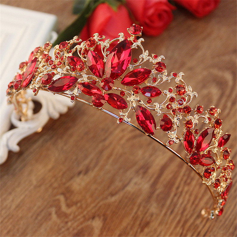 Baroque Gold Color Red Crystal Bridal Tiaras Wedding Hair Accessories Rhinestone Pageant Prom Crown for Bride Vintage Headbands