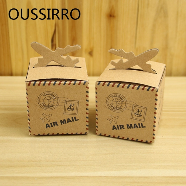 5pcslot Retro Airmail Kraft Paper Candy Boxes For Wedding Gift