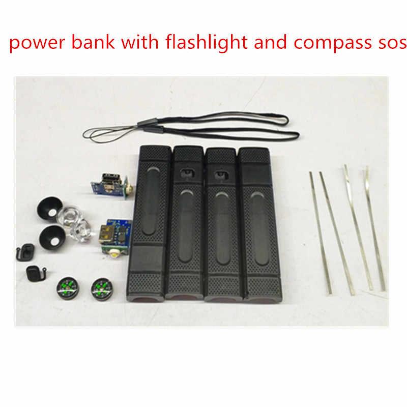 DIY Power Bank kit 1 18650 battery Case with LED Flashlight compass USB  Charger 5v1a flashlight