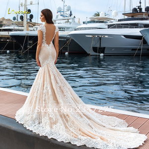Image 2 - Loverxu Sexy Illusion V Neck Lace Mermaid Wedding Dresses 2020 Embroidery Appliques Court Train Trumpet Vintage Bridal Gowns
