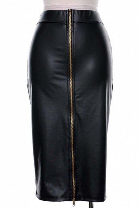 Sexy Plus Size XXS-8XL Black Leather Pencil Skirt For Woman Saias Lapis Curta Women Casual High Waist Front Zipper Midi Skirts