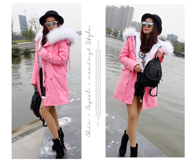 Women Winter  Jacket Coats Thick Parkas Plus Size Real Raccoon Fur Collar Hooded Outwear