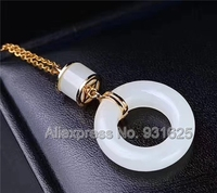 925 naturalny, Biały HeTian Yu Gem Okrągły Dynda Styl Projektowania Szczęście Wisiorek + Naszyjnik + certyfikat Biżuteria