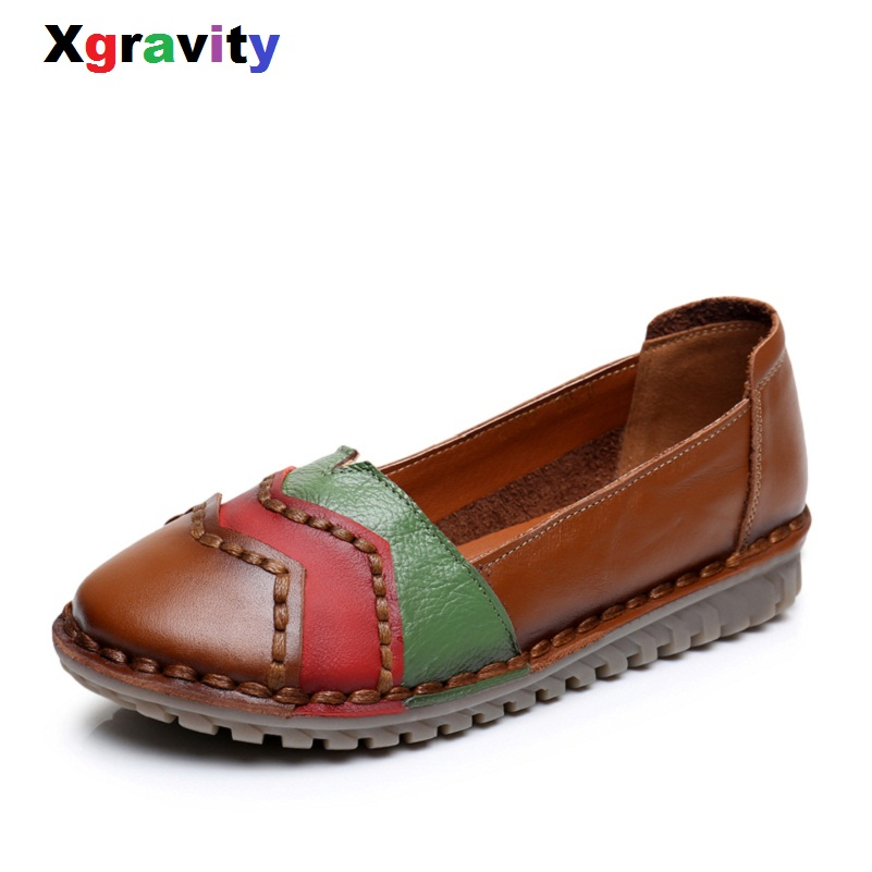 Xgravity Hot Summer Autumn Fashion Mixed Colors Round Toe Flat Shoes Vintage Genuine Leather Women Flats Girl Loafer Flats C087 front lace up casual ankle boots autumn vintage brown new booties flat genuine leather suede shoes round toe fall female fashion
