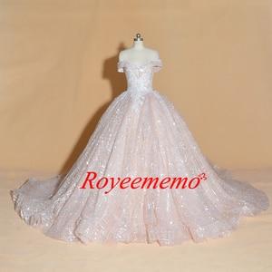 Image 2 - Vestido de Noiva off shoulder wedding dress Vintage Robe De Mariage special lace design shiny luxurious wedding dress factory