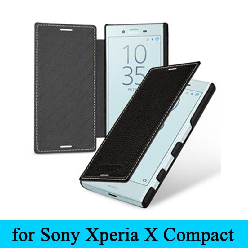 Étui en cuir véritable de vache de qualité supérieure de Style classique étui à rabat pour Sony Xperia X Compact F5321 + cadeau livraison gratuite
