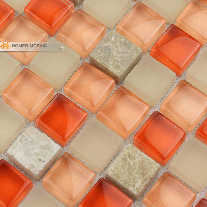 Orange glass mixed gray marble tile bathroom mosaic tiles kitchen