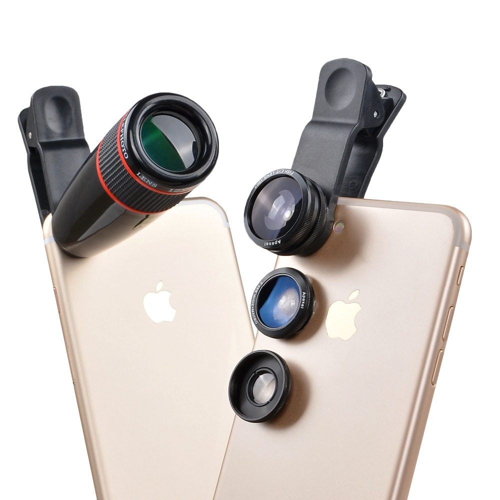 12X Telephoto Telescope Optical Zoom Lens+ Wide Angle & Macro+ Fisheye Lens Camera Lens Kit for iPhone5s 7 6s Plus Samsung