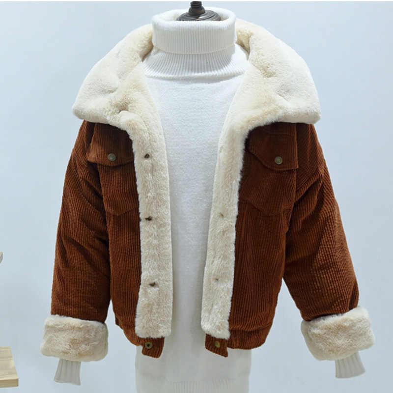 2018 Coloridos Mulheres Jaqueta De Veludo Inverno Feminino de Pele De Cordeiro Inverno Casaco Parka inverno Grosso Outwear jaqueta Curta feminina Inverno
