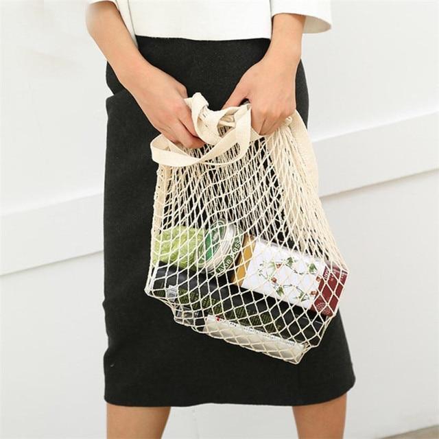 Net pano Reutilizáveis Frutas Vegetais Corda Mercearia Saco de Compras Casuais Bolsa de Ombro Shopper Tote do Algodão de Malha Tecido Líquido Mulheres M5