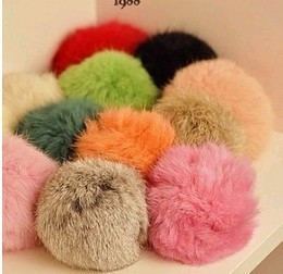 (Min order is $10) E9054--1 queer accessories ultralarge ! rabbit fur ball pompon bag mobile phone bag