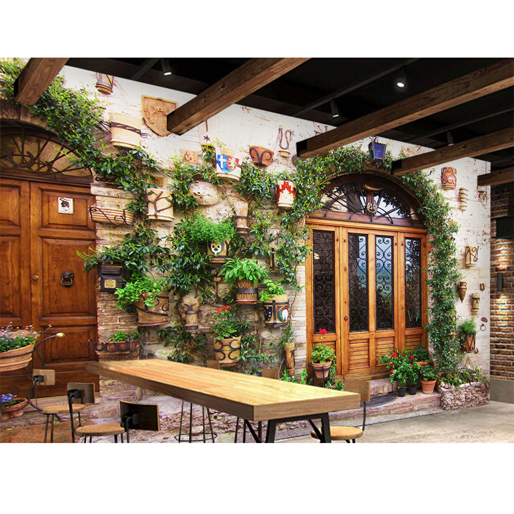 3D Wallpaper Mural Decor Photo Backdrop Wallpaper Wall Flower Pot Door Landscape Mural Painting For Living Room 3D Wallpaper 3d wallpaper color wood board modern interior simple decor wall painting kid s room living room backdrop wall mural papel tapiz