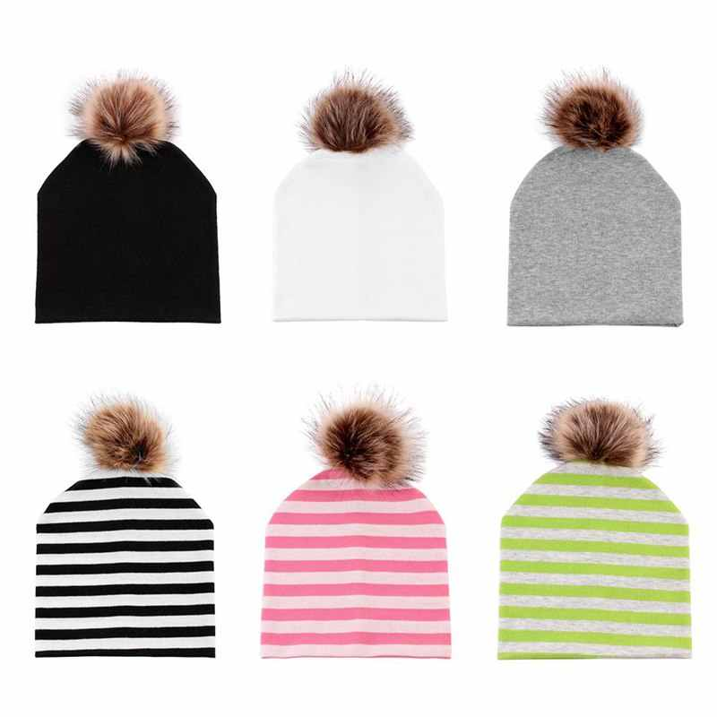 ... 5Colors Mom And Baby Hat with Pompon Warm Raccoon Fur Bobble Beanie  Kids Cotton Knitted Parent ... c6a5fc1370fb