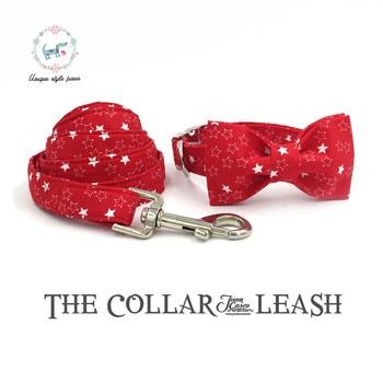 Kerah Anjing dan Tali Set dengan Dasi Kupu-kupu Merah Bintang Kapas Anjing & Kucing Kalung dan Tali Anjing untuk Hewan Peliharaan aksesoris Hadiah