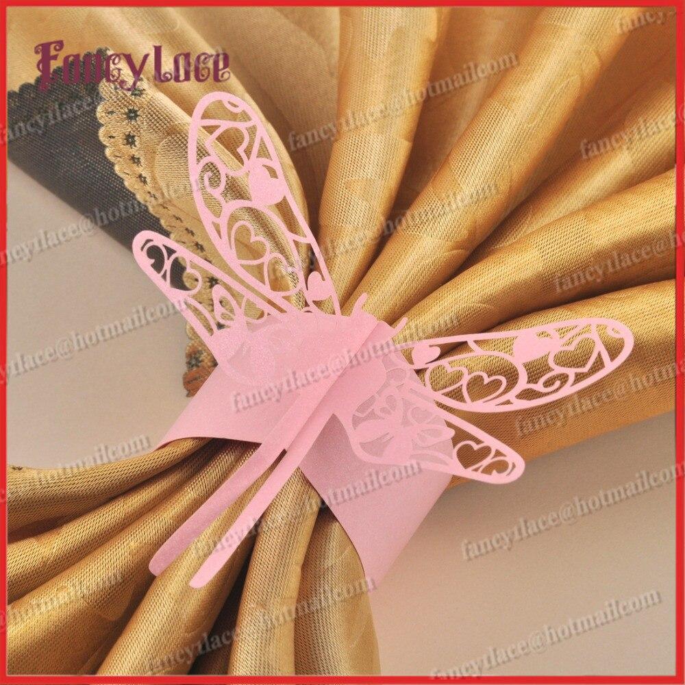New Arrival 24pcs/lot Laser cut Dragonfly Design Paper Napkin Rings ...