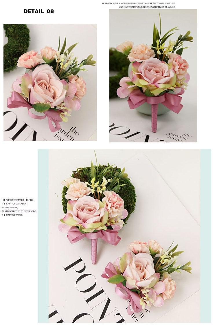 bridesmaid bracelet wedding corsage flowers roses artificial  (19)