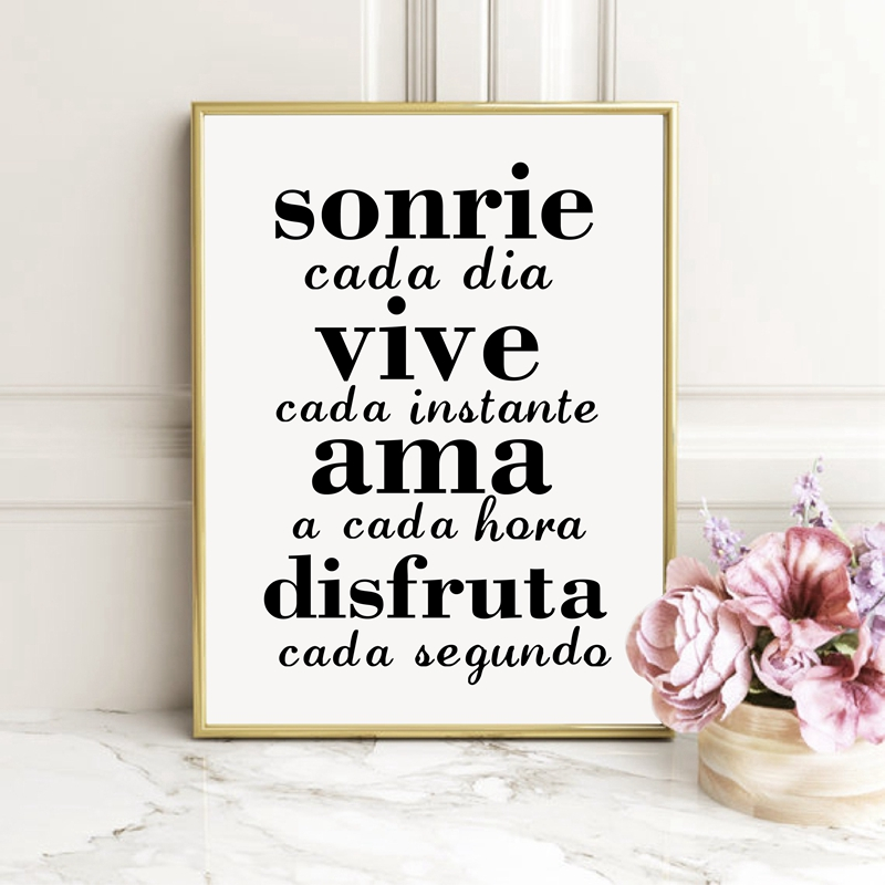Spanish Inspirational Quotes Canvas Painting Wall Poster Smile Everyday Live Every Moment